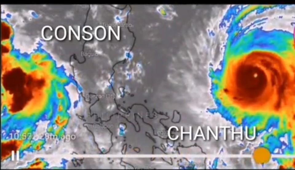 Оба тайфуна движутся от Филиппин. Фото: принтскрин видео, pogoda_25_region